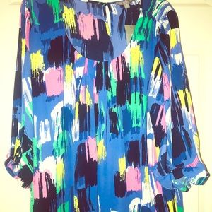 🆕NY Collection women Multi-Color 1X blouse, As is